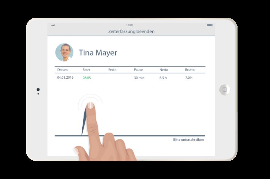 Nutzen Sie die Stempeluhr-App für iOS und Android zur Zeiterfassung passend zum Dienstplan